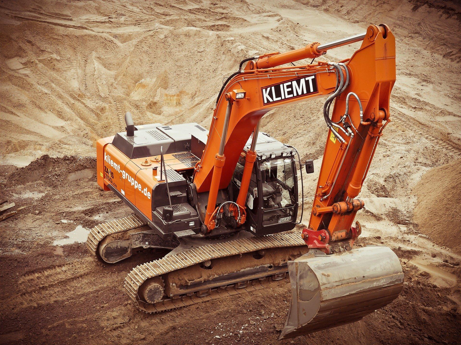 Gravemaskine på byggeplads